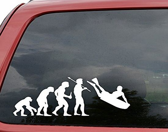 Bodyboard Surfing Evolution Car Window Vinyl Decal Sticker- [15 in/38 cm] Wide White Color